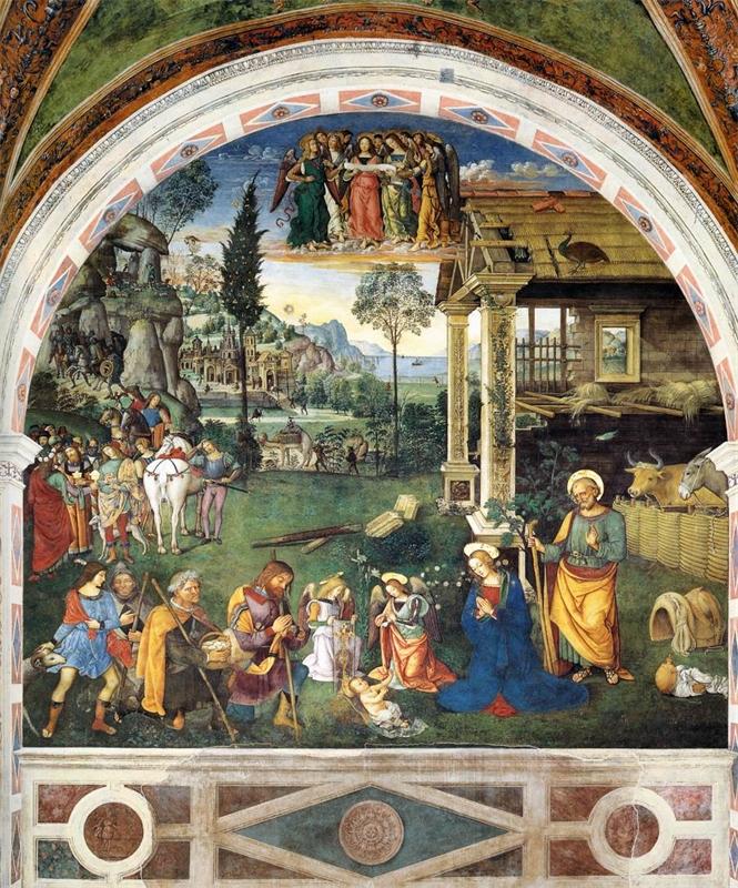 Fresco Aanbidding van het kerstkind, Pinturicchio Spello