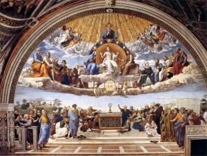 Detail van 'Het Dispuut over het Heilige Sacrament', Sanzio Raffaello, 1511