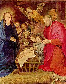 25 december  Aanbidding van het kind Jezus door de engelen te Bethlehem, door Hugo van der Goes