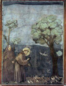 Franciscus preekt voor de vogels , Fresco Giotto